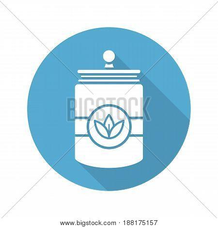 Tea and herbs jar. Flat design long shadow icon. Vector silhouette symbol