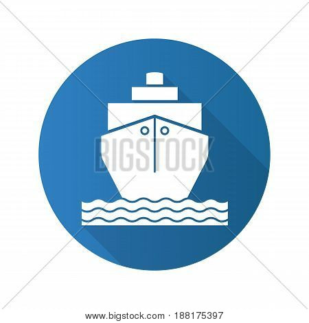 Cruise ship flat design long shadow icon. Shipping tanker. Vector silhouette symbol