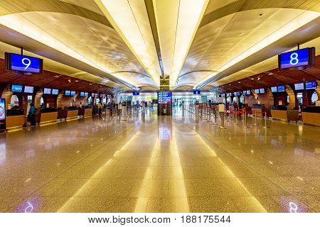 TAOYUAN TAIWAN - APRIL 24TH: Taoyuan airport check in desk area where passenger come to check-in their luggage and receive their tickets on April 24 2017 in Taoyuan