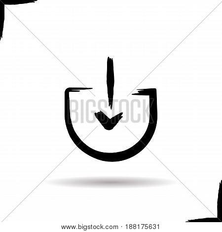 Download arrow icon. Drop shadow symbol. Ink brush stroke. Vector isolated illustration
