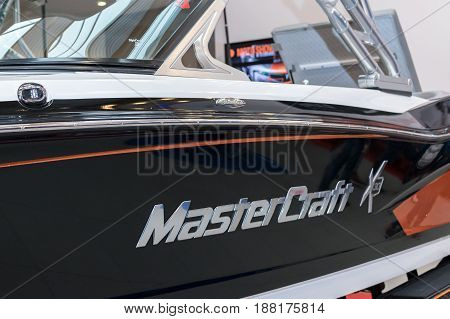 Krakow Poland May 21 2017: MasterCraft sign close-up during MotoShow in Krakow. MasterCraft is a United States manufacturer of luxury high-performance boats.