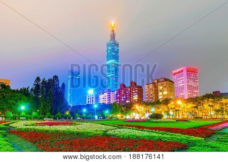 TAIPEI TAIWAN - APRIL 20: This is a view of Taipei 101 and Xinyi financial district architecture taken from Sun Yat-Sen memorial hall on April 20 2017 in Taipei