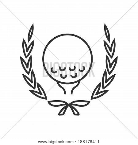 Golf championship linear icon. Thin line illustration. Golf ball on tee in laurel wreath. Contour symbol. Vector isolated outline drawing