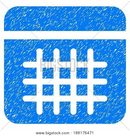 Grunge Calendar icon with grunge design and dirty texture. Unclean vector blue pictogram for rubber seal stamp imitations and watermarks. Draft sign symbol.