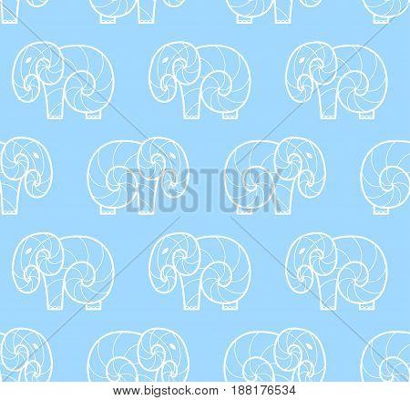 Vector seamless pattern of white simple elephant on blue background. Line art design elephant