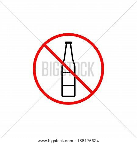No alcohol line icon, prohibition sign, forbidden no drink, vector graphics, a linear pattern red on a white background, eps 10.