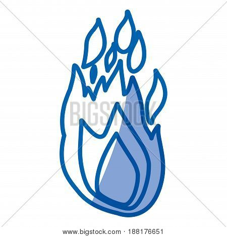 blue shading silhouette of hand drawn flame vector illustration