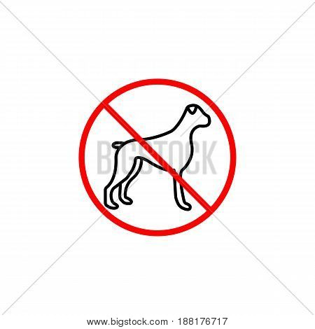 No dog line icon, prohibition sign, forbidden no animal, vector graphics, a linear pattern red on a white background, eps 10.