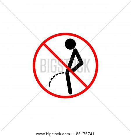 No peeing line icon, pee prohibition sign, forbidden don't pissing, vector graphics, a linear pattern red on a white background, eps 10.