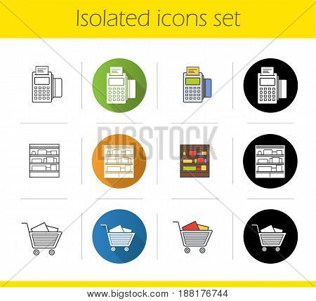 Supermarket icons set. Flat design, linear, black and color styles. Shop shelves, pos terminal, supermarket shopping cart with boxes. Isolated vector illustrations