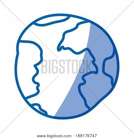 blue shading silhouette of hand drawn world sphere vector illustration