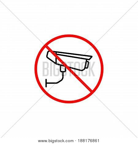 No surveillance line icon, no security camera prohibition sign, forbidden ban or stop, vector graphics, a linear pattern  red on a white background, eps 10.