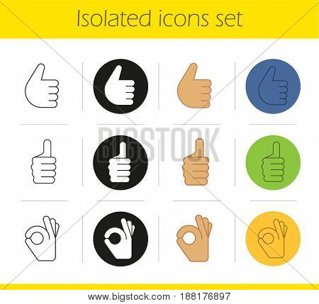 Hand gestures icons set. Linear, black and color styles. Thumbs up and OK hand gestures. Isolated vector illustrations