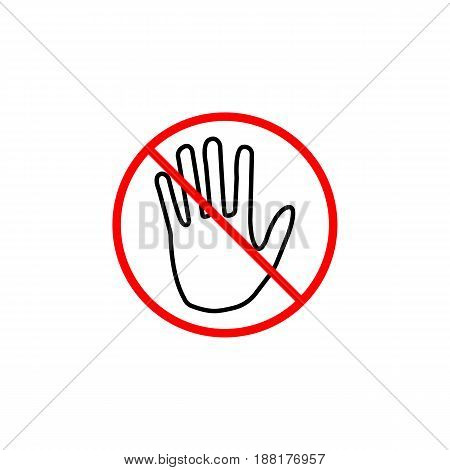 Do not  touch line icon, No entry prohibition sign, forbidden stop fake, vector graphics, a linear pattern red on a white background, eps 10.