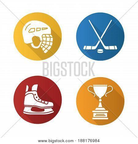 Hockey equipment flat design long shadow icons set. Helmet, ice skate, sticks, winner's award. Vector silhouette illustration