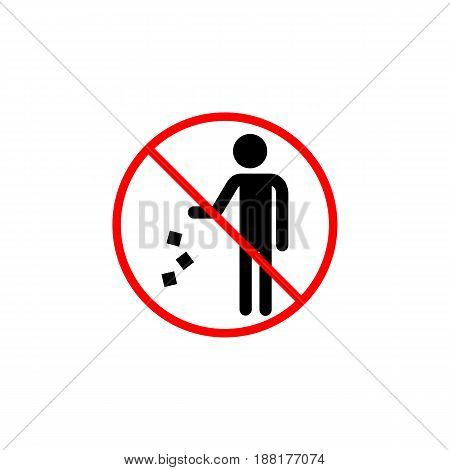 Do not litter line icon, prohibition sign, forbidden don't throw rubbish, vector graphics, a linear pattern red on a white background, eps 10.