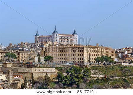 The Alcazar of Toledo is a stone fortification located in the highest part of Toledo Spain