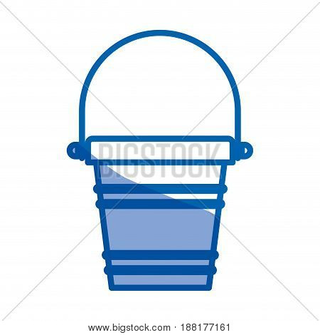 blue shading silhouette of toy bucket beach kit vector illustration