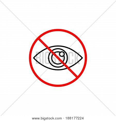 Do not spy line icon, prohibition sign, forbidden don't look, vector graphics, a linear pattern red on a white background, eps 10.