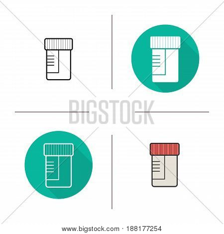Medical test jar icon. Flat design, linear and color styles. Ointment container. Isolated vector illustrations