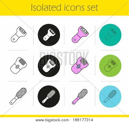 Feet care equipment icons set. Linear, black and color styles. Foot file, rasp, epilator. Isolated vector illustrations