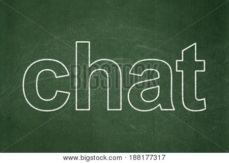 Web design concept: text Chat on Green chalkboard background