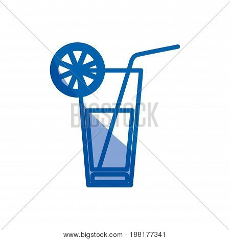 blue shading silhouette of cocktail drink with lemon slice vector illustration