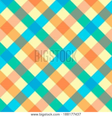 fabric in a cage plaid bright seamless background. vector illustration.