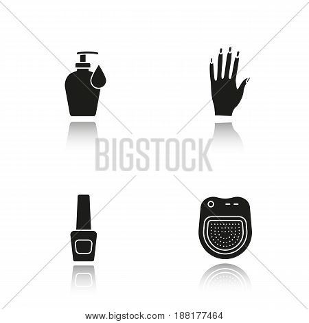 Manicure drop shadow black icons set. Woman's hand with manicure, nail polish bottle, lotion with drop, spa salon manicure bath. Isolated vector illustrations
