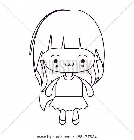 monochrome silhouette of kawaii little girl with long hair and facial expression exhausted vector illustration