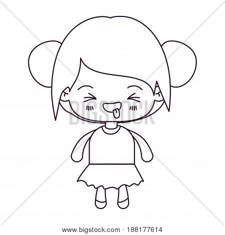 monochrome silhouette of kawaii little girl with collected hair and facial expression unpleasant vector illustration