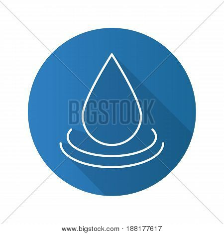 Water drop flat linear long shadow icon. Aromatherapy oil drop. Vector line symbol