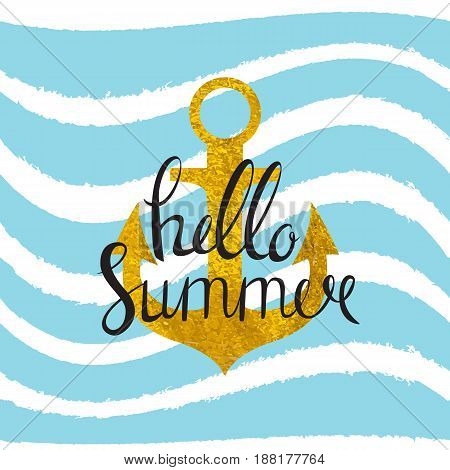 Abstract Design Summer Bakground with Anchor and Sea Wave . Vector Illustration EPS10