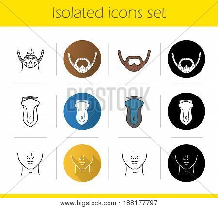 Barbershop icons set. Flat design, linear, black and color styles. Man's clean face, beard, electric shaver. Isolated vector illustrations