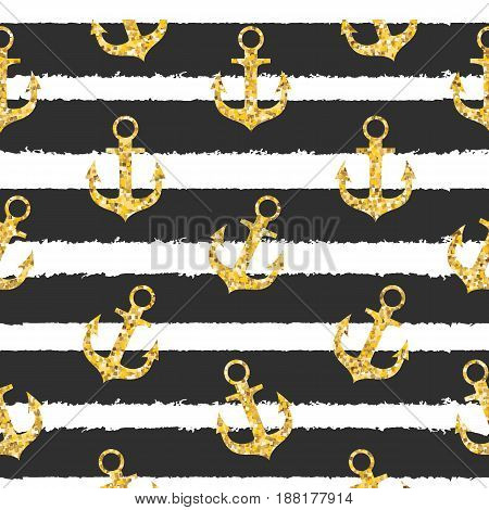 Abstract Design Summer SEamless Pattern  Bakground with Anchor and Sea Wave. Vector Illustration EPS10