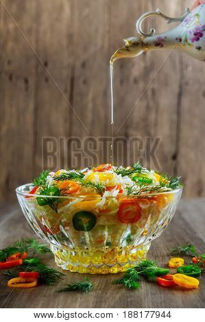 Glass Bowl Filled With Organic Super Food Salad With Olive Oil,