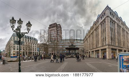 DUESSELDORF, GERMANY - JANUARY 05, 2017: High resolution, hyperrealistic panoarama of famous Heinrich Heine Platz with Carsch Haus.