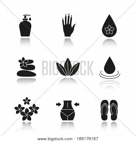 Spa salon drop shadow black icons set. Aroma oil drops, cream, woman's hand with manicure, stones massage, loose leaves, flowers, weight loss, flip flops. Isolated vector illustrations