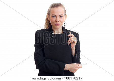 a charming young business woman looks straight and holding a black Tablet close-up isolated on white background