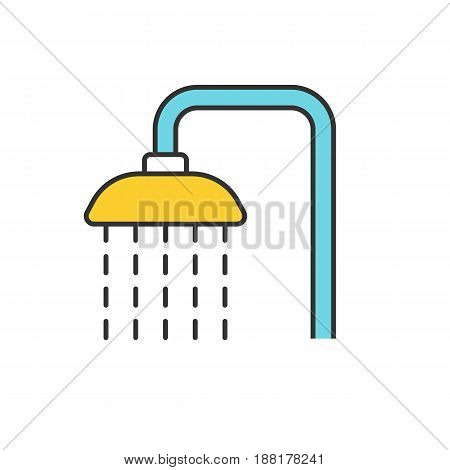 Shower color icon. Shower faucet with flowing water. Isolated vector illustration