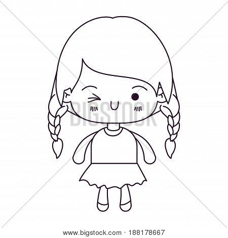 monochrome silhouette of kawaii little girl with braided hair and facial expression wink eye vector illustration