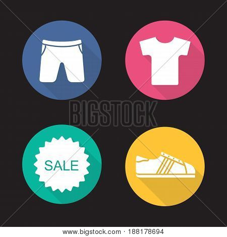 Sport clothes store sale. Flat design long shadow icons set. T-shirt, shorts, sneaker, sale sticker. Vector silhouette illustration