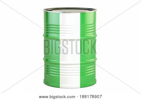 Oil barrel with flag of Nigeria. Oil production and trade concept 3D rendering