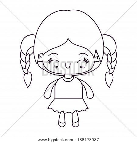 monochrome silhouette of kawaii little girl with braided hair and facial expression happiness with closed eyes vector illustration