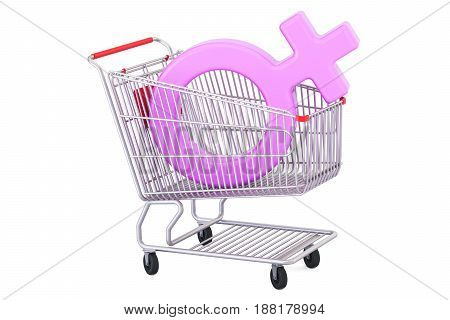 Shopping cart with female gender symbol 3D rendering isolated on white background