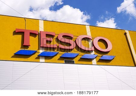 Prague, Czech Republic - May 22: Tesco Company Logo On The Supermarket Building On May 22, 2017 In P