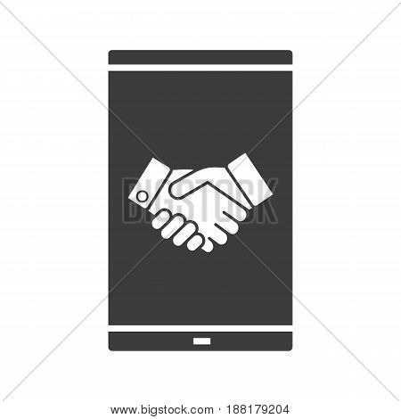 Smartphone business app glyph icon. Silhouette symbol. Smart phone with handshake. Negative space. Vector isolated illustration