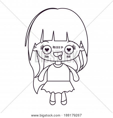 monochrome silhouette of kawaii little girl with long hair and facial expression enamored vector illustration