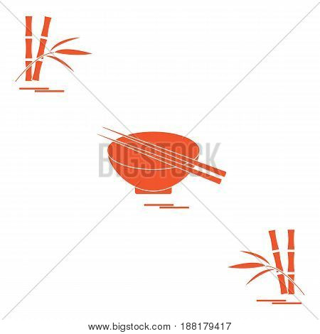 Stylized Icon Of Bowl With Chopsticks And Bamboo. Asian Food Restaurant.