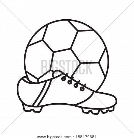 Soccer boot and ball linear icon. Thin line illustration. Contour symbol. Vector isolated outline drawing